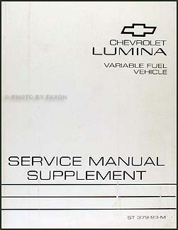 1993 Chevy Lumina Car Variable Fuel (ethanol) Repair Shop Manual Supplement