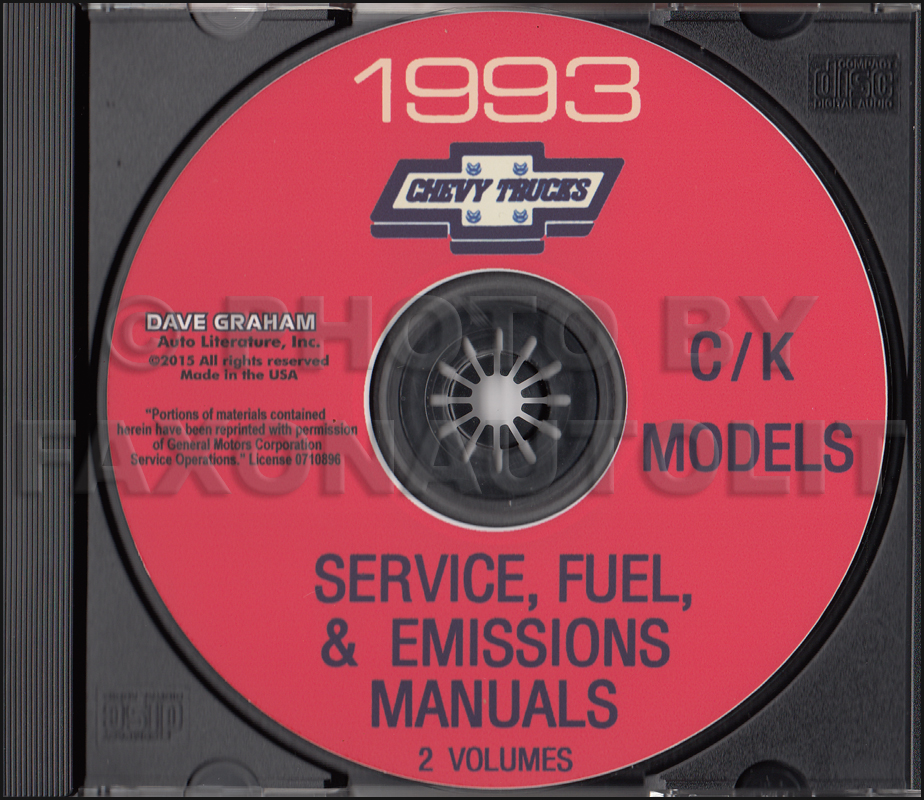 1993 Chevrolet C/K Pickup Service Manual and Fuel Emissions Manual on CD