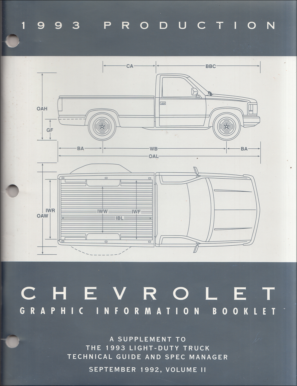 1993 Chevrolet Truck Graphic Booklet Original Dealer Album Supplement