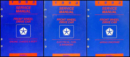 1993 MoPar FWD Car Shop Manual 3 Vol Set
