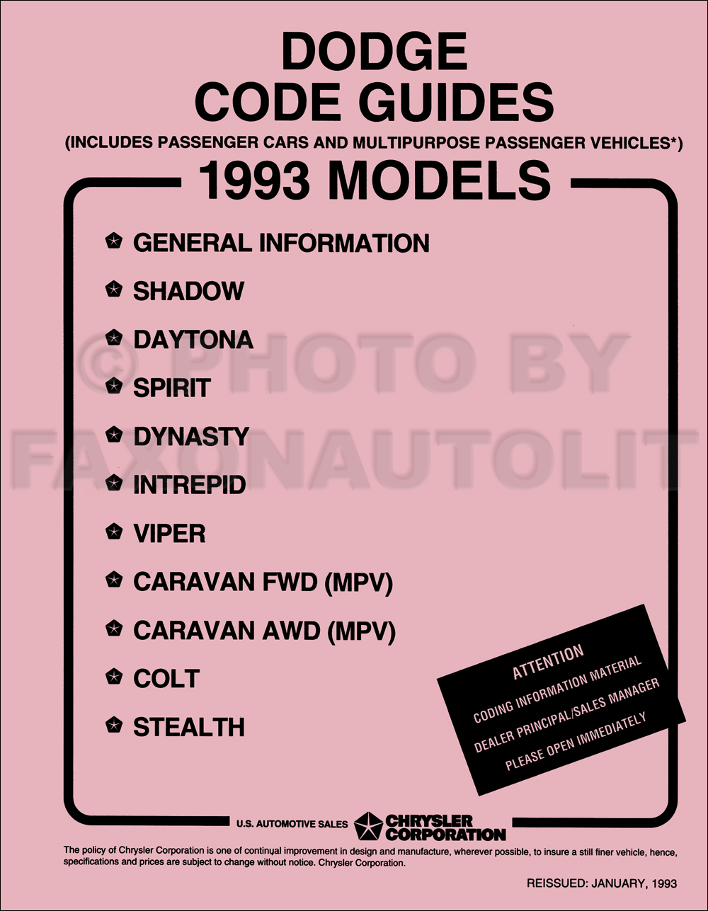 1993 Dodge Ordering Code Guide Original