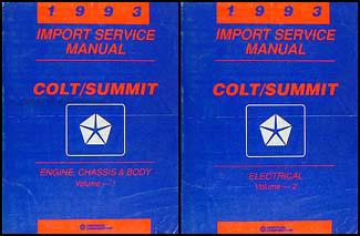 1993 Colt and Summit Shop Manual Original 2 Volume Set