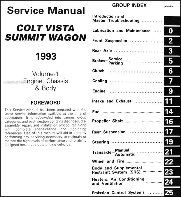 1993 colt vista summit wagon repair shop manual original 2 volume set rh faxonautoliterature com