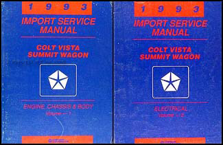 1993 Colt Vista & Summit Wagon Shop Manual Original 2 Volume Set