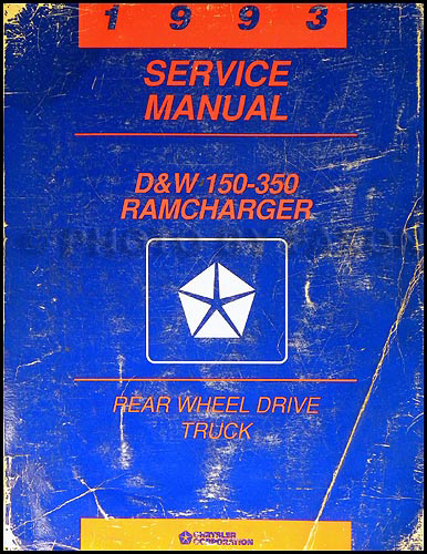1993 Dodge Ram Van & Wagon Shop Manual Original B100-B350