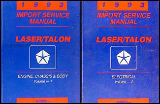 1993 Plymouth Laser and Eagle Talon Shop Manual Original 2 Volume Set