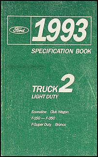 1993 Ford Pickup and Van Service Specifications Book Original