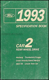 1993 Ford Lincoln Mercury RWD Car Service Specifications Book Original