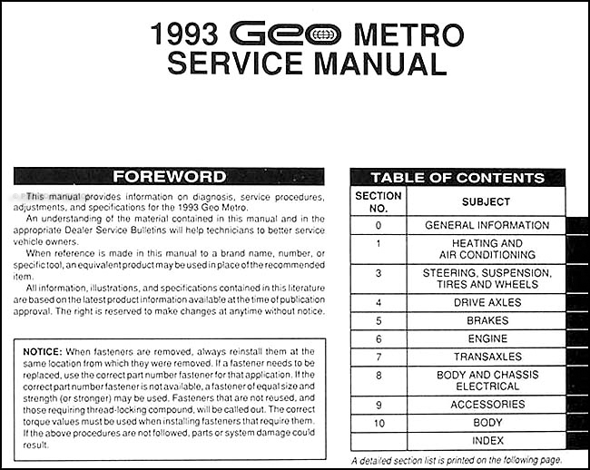 1996 geo metro wiring diagram 1993 geo metro repair shop manual original  1993 geo metro repair shop manual original