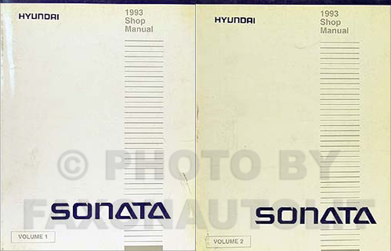 1993 Hyundai Sonata Shop Manual Original 2 Volume Set
