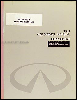 1993.5 Infiniti G20 Repair Manual Original Supplement