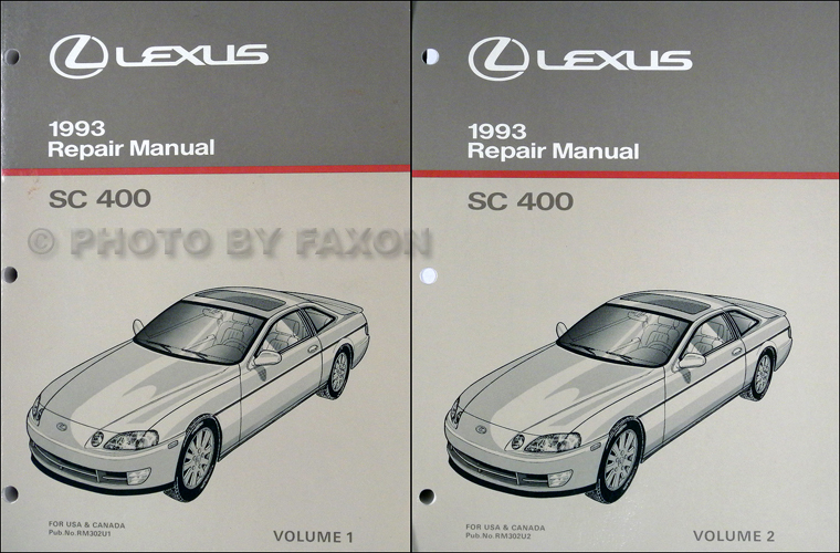 1993 Lexus SC 400 Repair Shop Manual Original 2 Volume Set