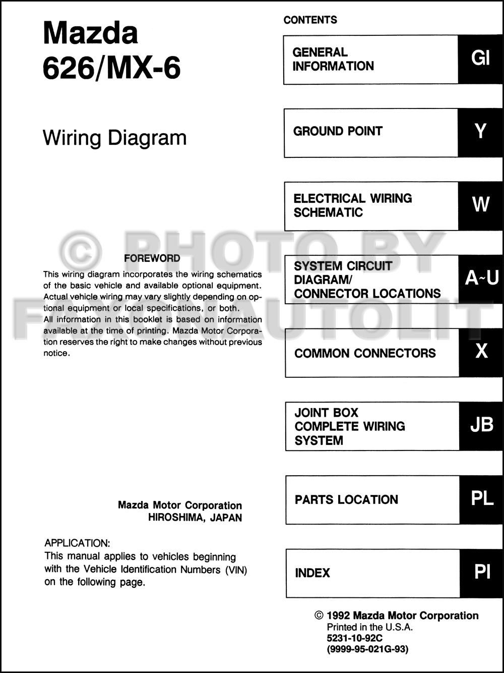 1993 Mazda 626 And Mx 6 Wiring Diagram Manual Original 6ls