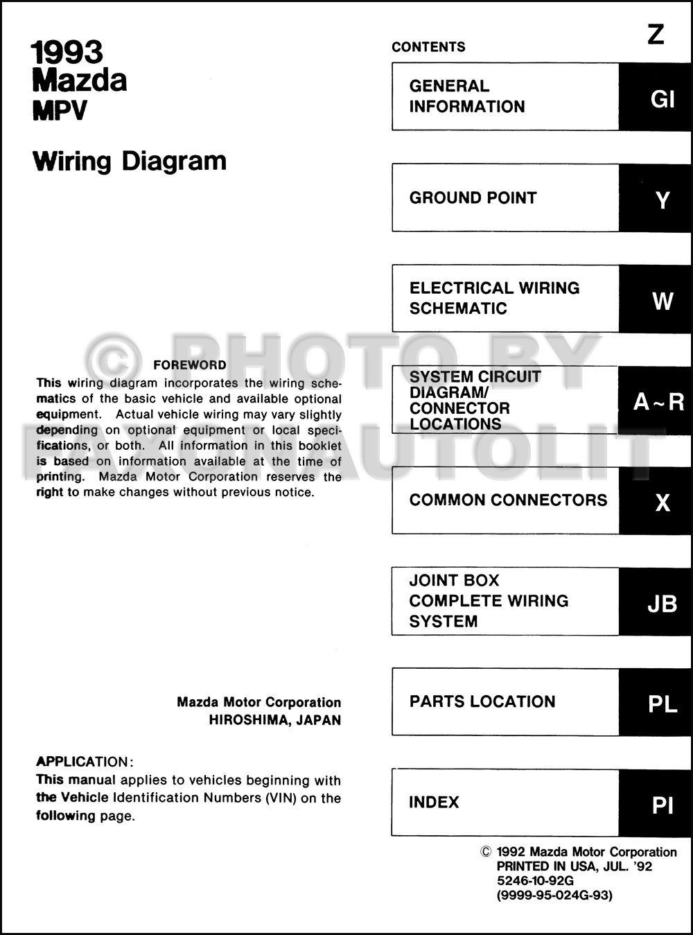 1993 Mazda Mpv Wiring Diagram Manual Original For Vans