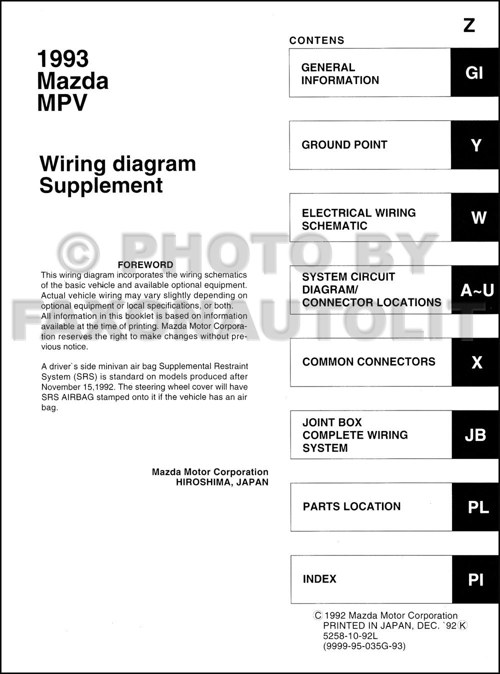 1993 Mazda Mpv Wiring Diagram Manual Original For Vans With Air Bag Click On Thumbnail To Zoom