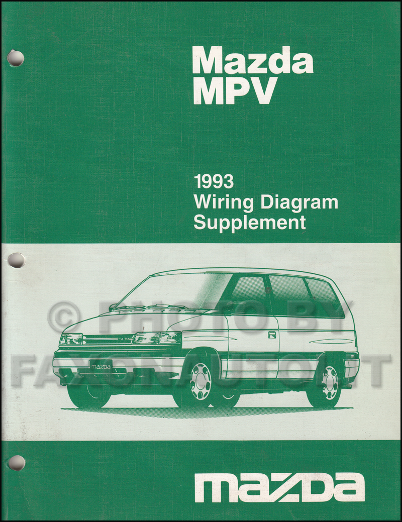 1993 Mazda MPV Wiring Diagram Manual Original for vans with Air Bag