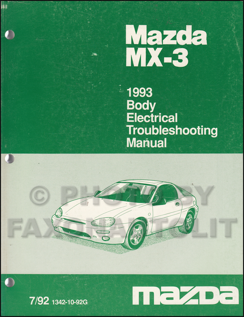 1993 Mazda Mx 3 Body Electrical Troubleshooting Manual Original