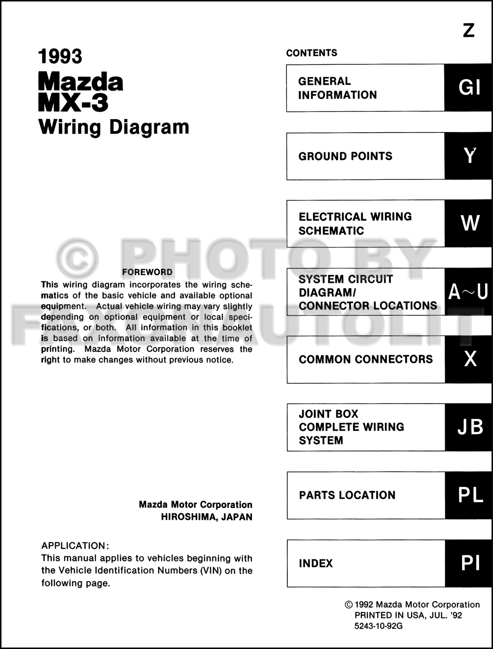 93 Mazda Mx3 Wiring Diagram Detailed Schematic Diagrams Rx3 1993 Mx 3 Manual Original B2300