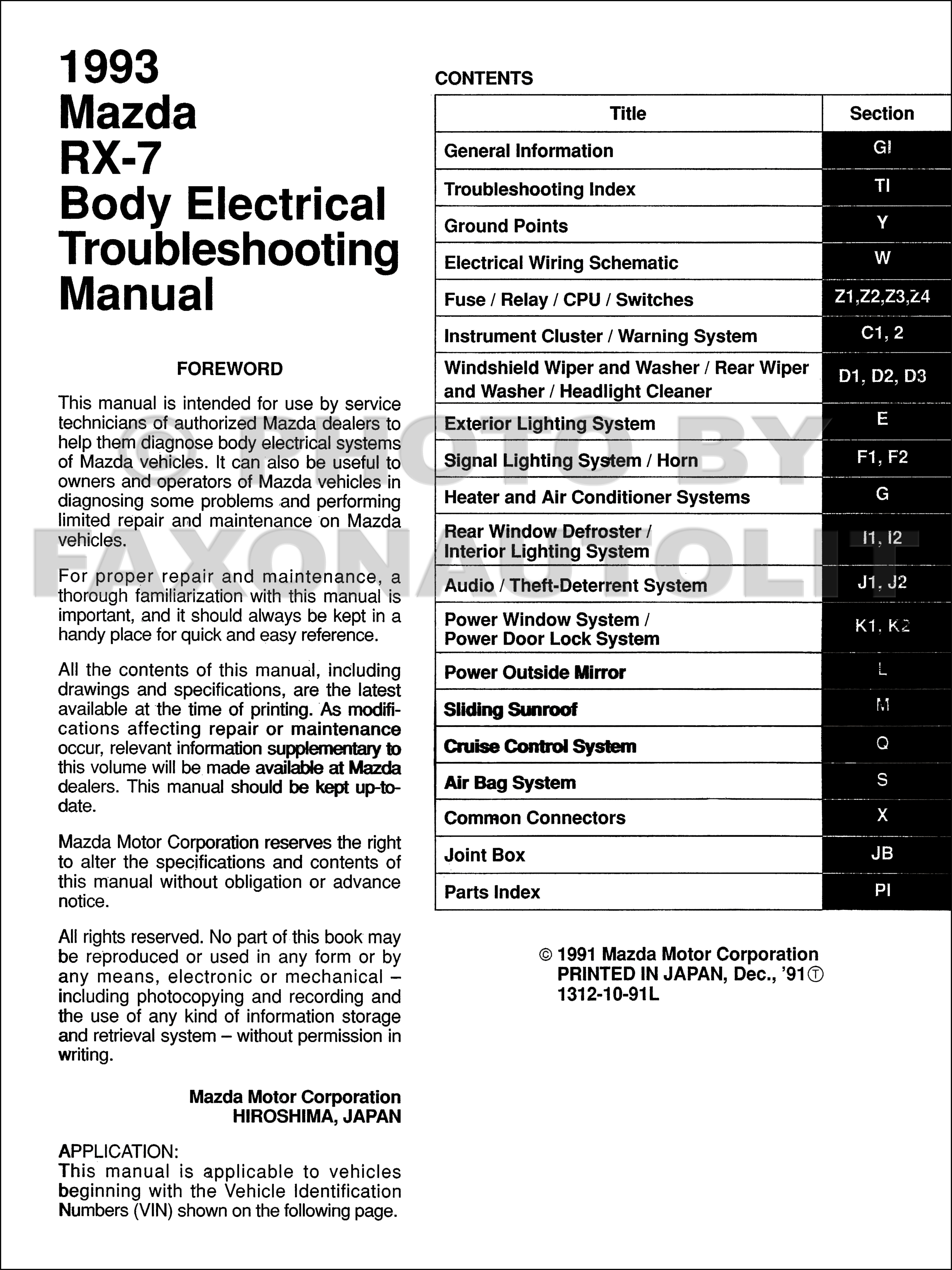 1993 Mazda Rx 7 Body Electrical Troubleshooting Manual Original Wiring Schematic Click On Thumbnail To Zoom