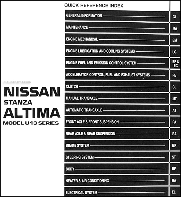 1993 Nissan Stanza Altima Repair Shop Manual Original