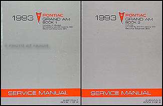 1993 Pontiac Grand Am Repair Manual Original 2 Volume Set