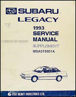 1993 Subaru Legacy Repair Manual Supplement Original