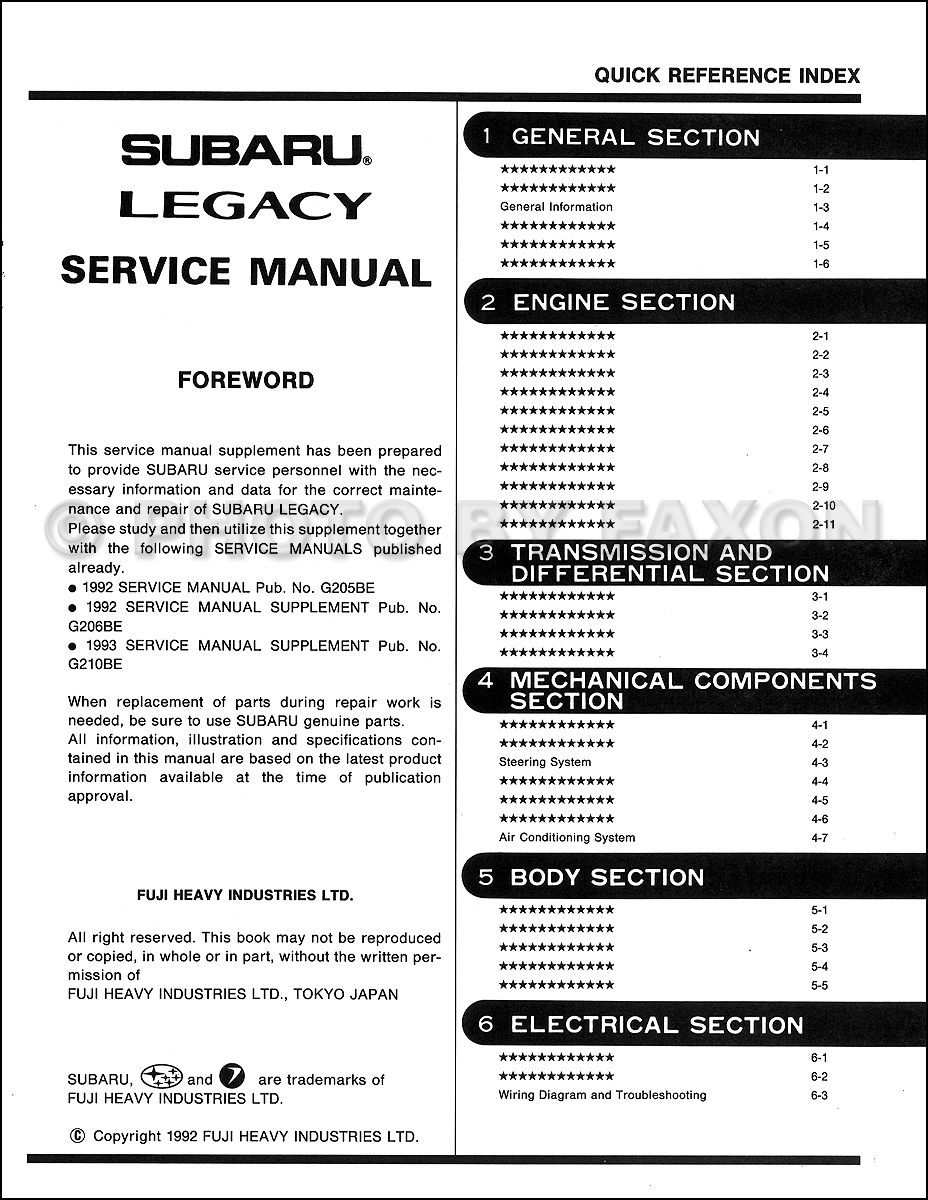 1993 Subaru Legacy Right Hand Drive Repair Shop Manual Supplement Wiring Diagram For Original Table Of Contents