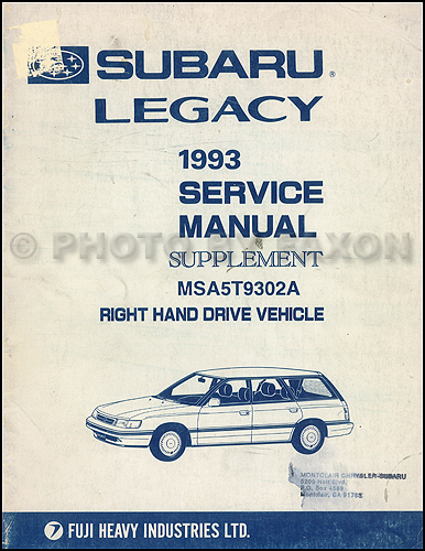 1993 subaru legacy repair shop manual supplement original rh faxonautoliterature com