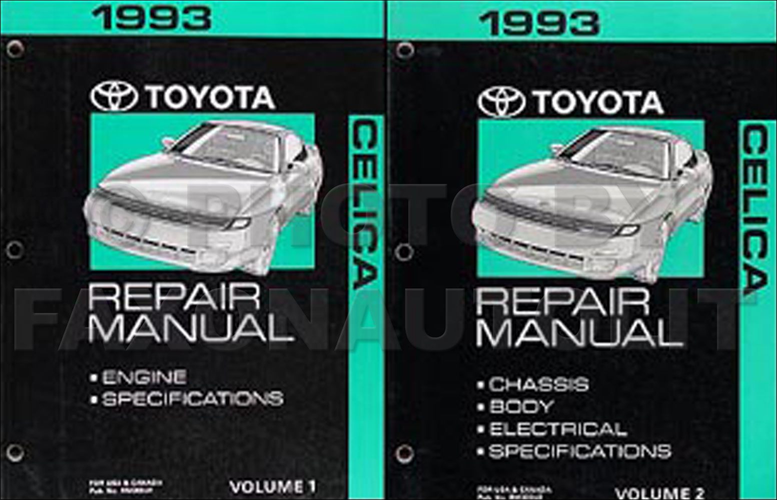 1993 Toyota Celica Repair Manual Original 2 Volume Set