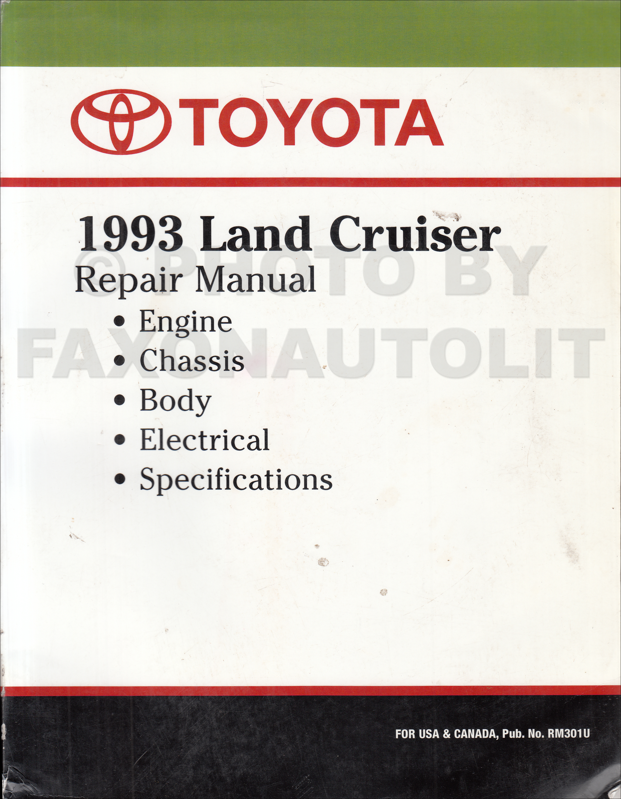 1993 Toyota Land Cruiser Repair Shop Manual Factory ReprintFaxon Auto Literature