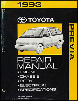 1993 Toyota Previa Van Repair Manual Original