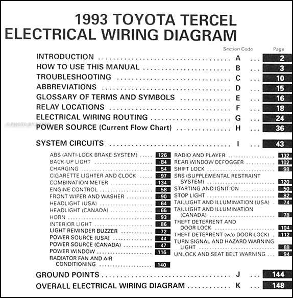 1993 toyota tercel wiring diagram manual original rh faxonautoliterature com toyota wiring manual em1431u Toyota Wiring Diagrams