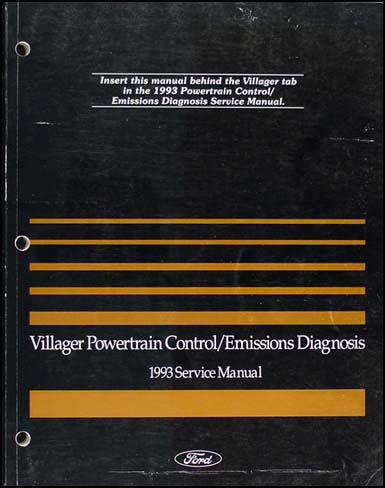 1993 Mercury Villager Engine and Emissions Diagnosis Manual