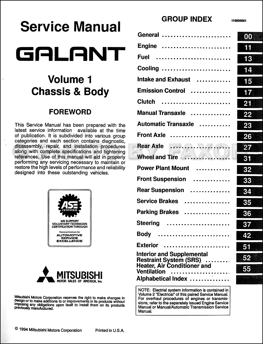 ... Mitsubishi Galant Repair Manual Set Original · Table of Contents:  Volume 1