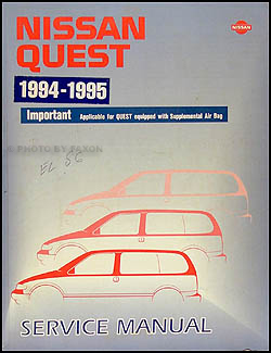 1994-1995 Nissan Quest Van Repair Manual Original