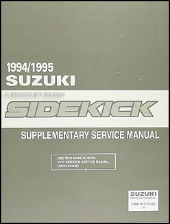 1994-1995 Suzuki Sidekick Repair Manual Supplement Original