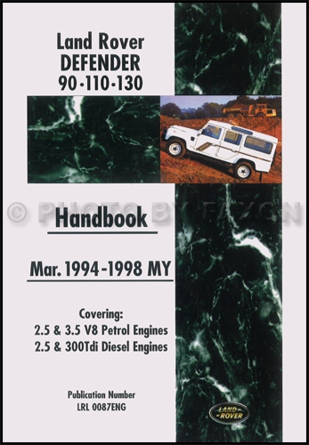 1994-1998 Land Rover Defender Owners Manual Handbook Reprint