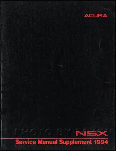 1998 Acura NSX Shop Manual Original Supplement