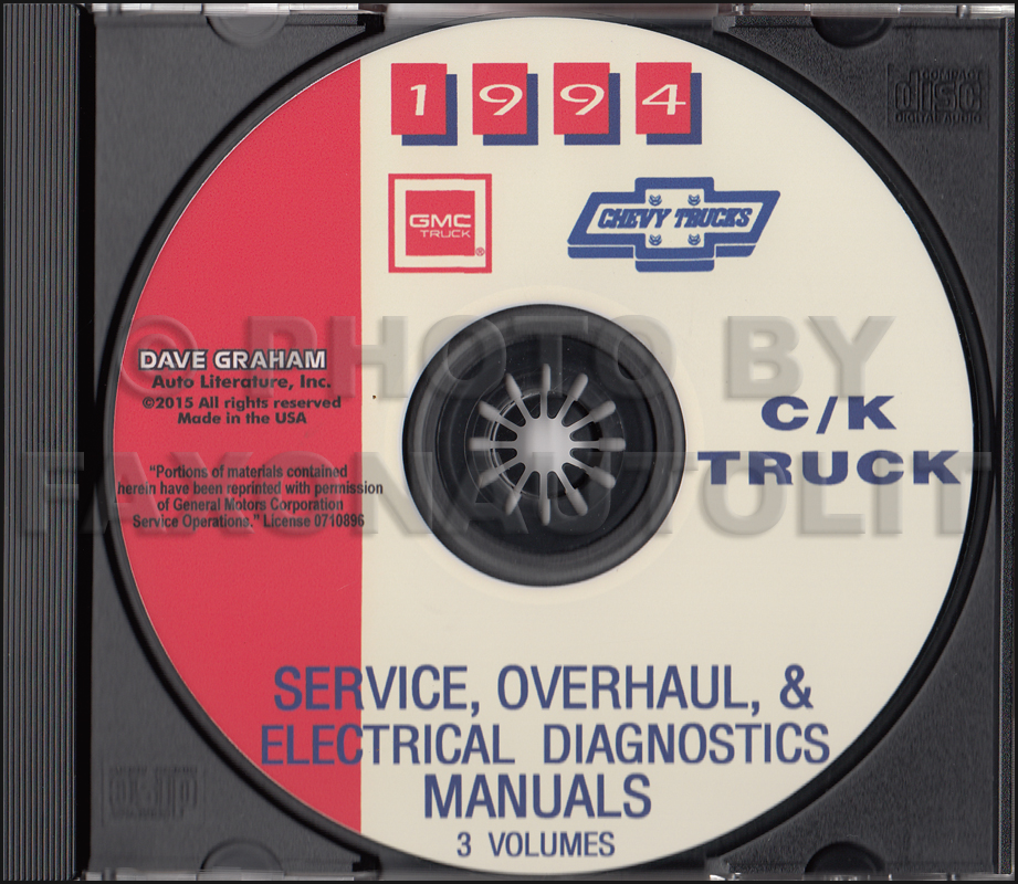 1994 Chevrolet GMC C/K Service, Overhaul, Electrical Diagnosis Manual Set on CD