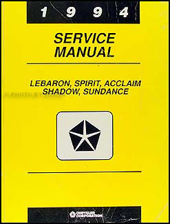 1994 Lebaron, Spirit, Acclaim, Shadow, & Sundance Shop Manual Original