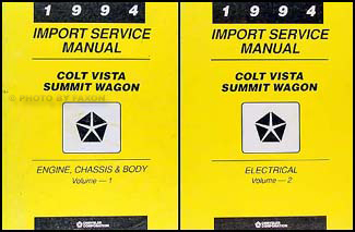1994 Colt Vista & Summit Wagon Shop Manual Original 2 Volume Set