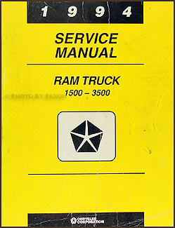1994 Dodge Ram 1500-3500 Truck Shop Manual Original