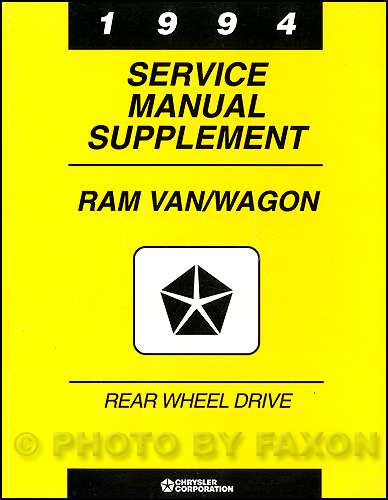 2003 Dodge Ram Van & Wagon Shop Manual Original Supplement