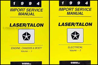 1994 Plymouth Laser and Eagle Talon Shop Manual Original 2 Volume Set