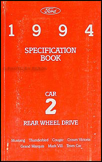 1994 Ford Lincoln Mercury RWD Car Service Specifications Book Original