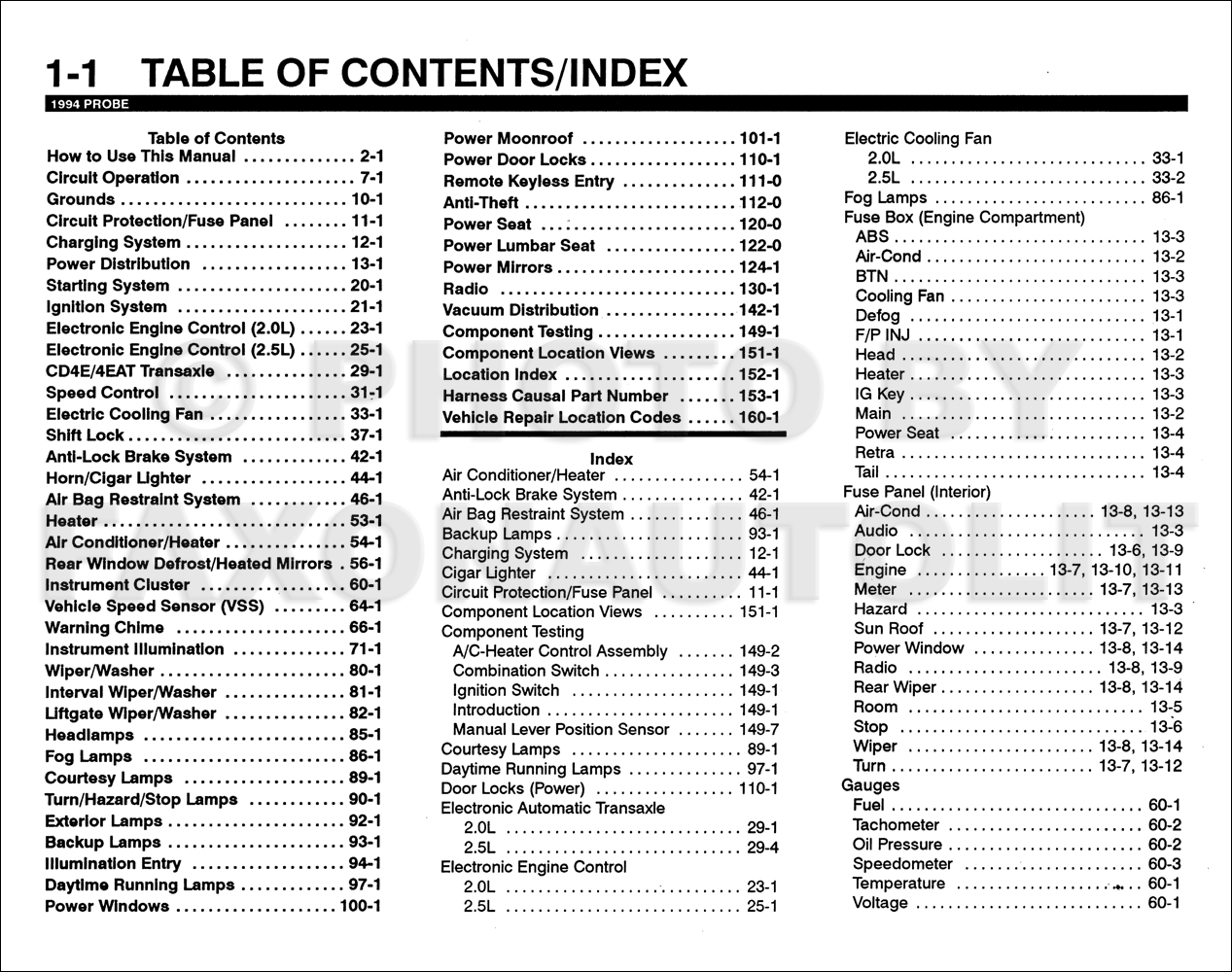 1994 Ford Probe Electrical & Vacuum Troubleshooting Manual Original · Table  of Contents Page 1