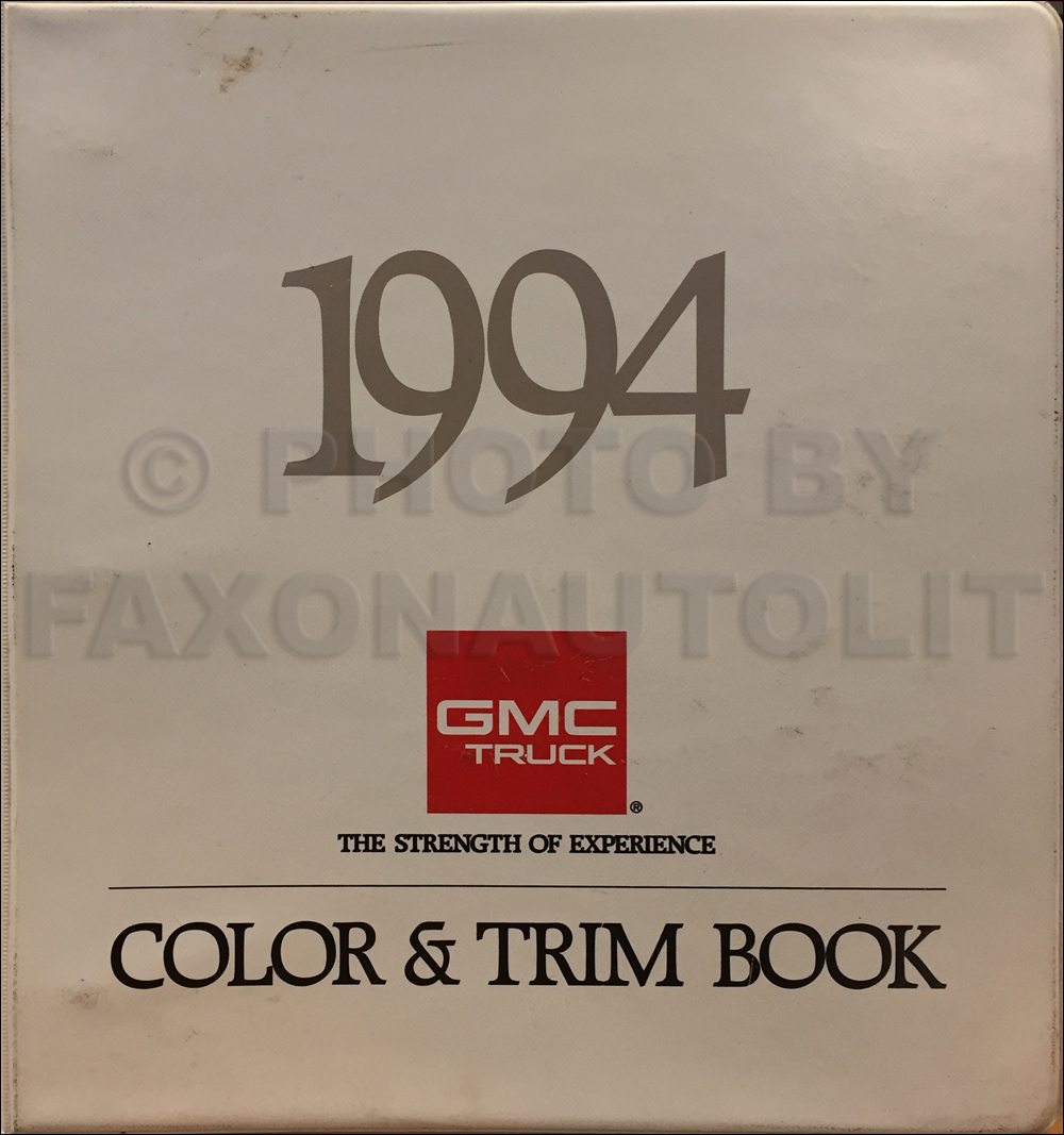 1994 GMC Color & Upholstery Dealer Album Original