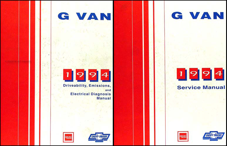 1994 Chevy Full Size G-Van GMC Vandura Rally Wagon Repair Shop Manual Set