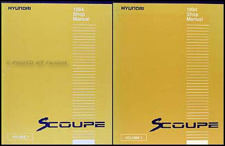 1994 Hyundai Scoupe Shop Manual Original 2 Volume Set