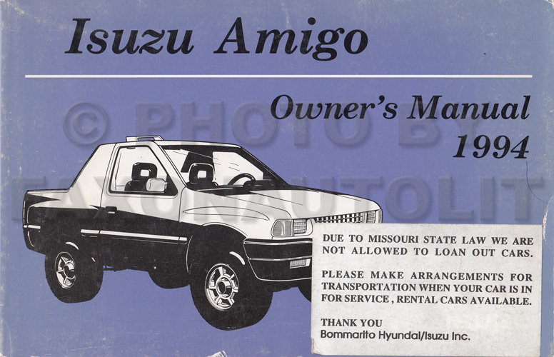 1994 Isuzu Amigo Owner's Manual Original